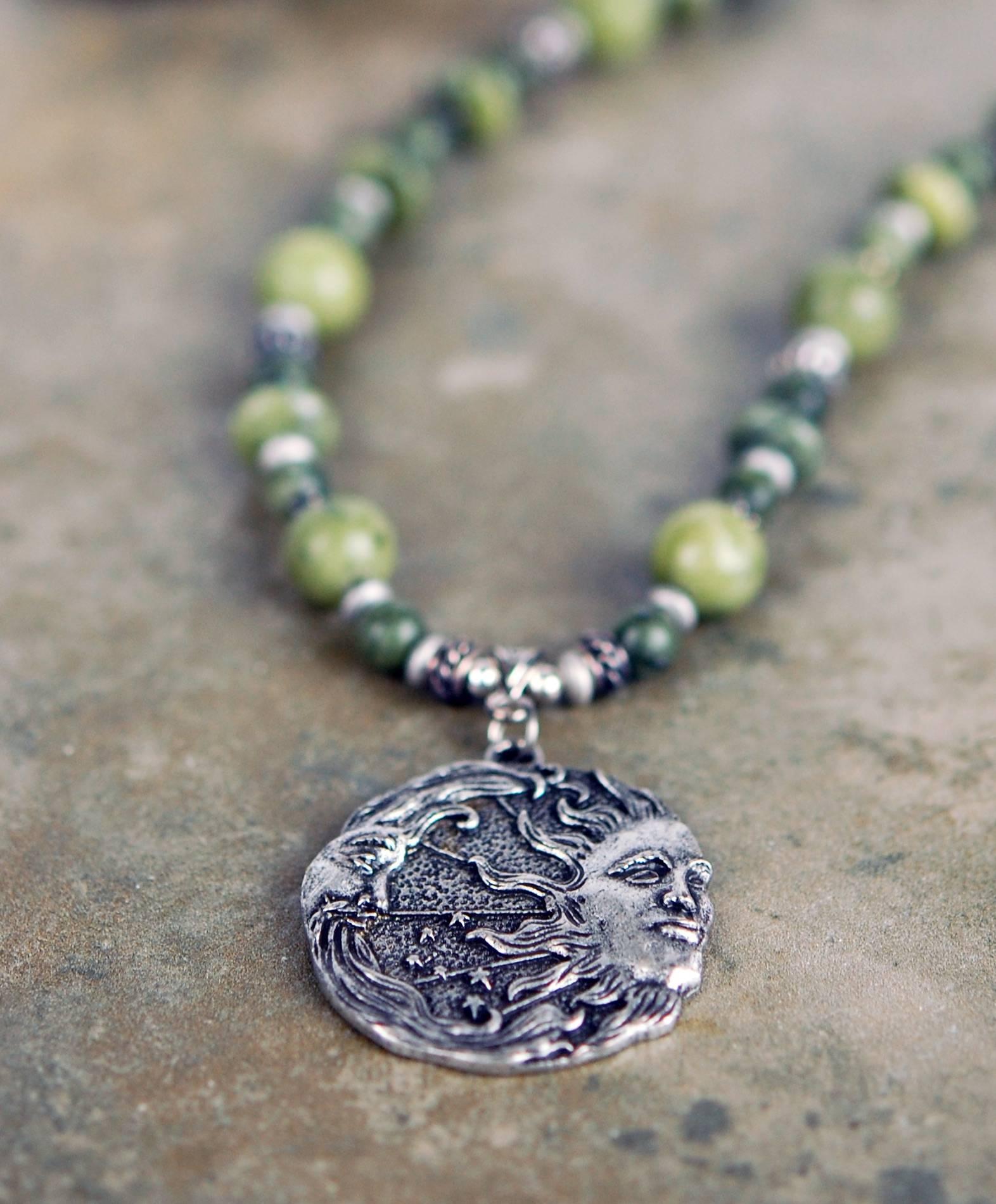Connemara Marble with Mystic Moon and Sun Focal
