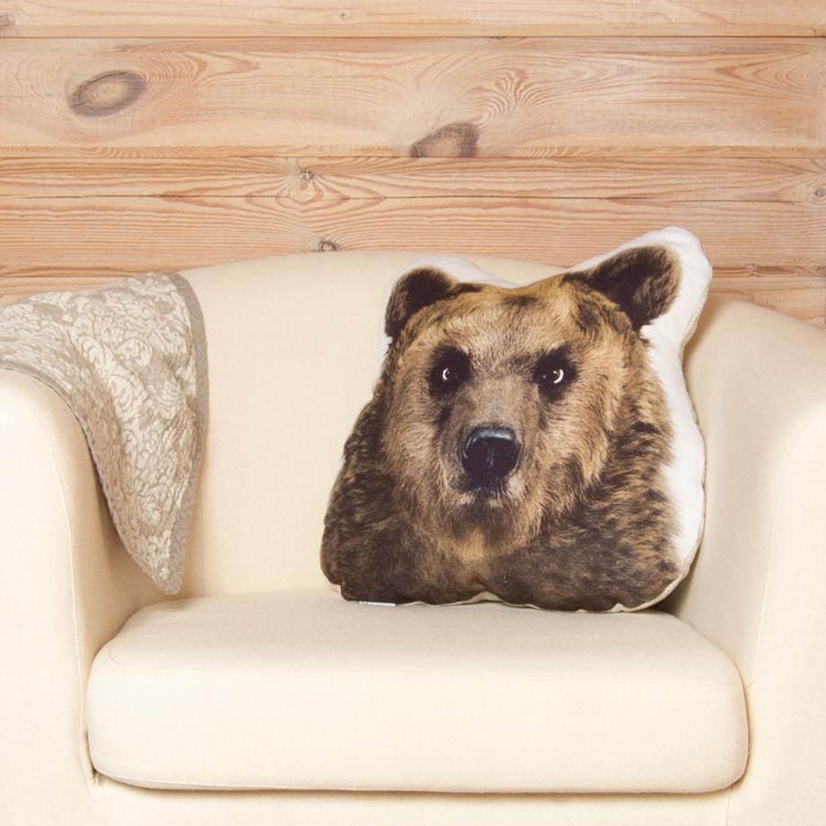 Подушка  Медведь – льняная декоративная подушка в виде головы медведя