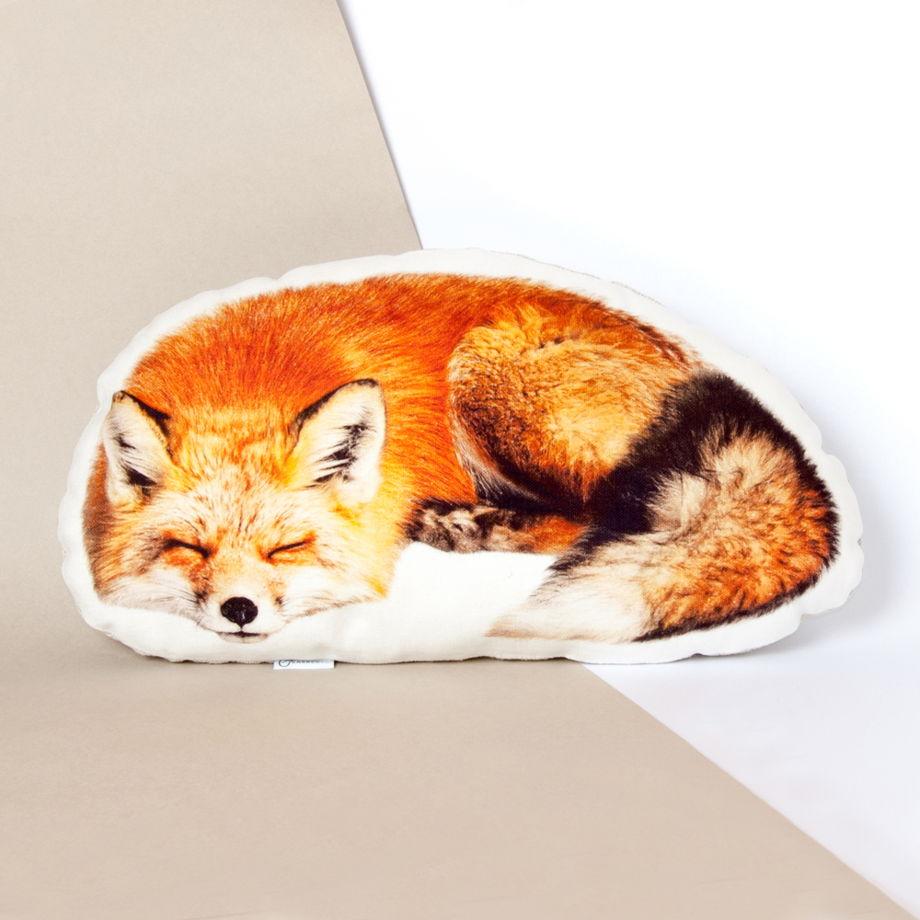 Подушка  Лиса – льняная декоративная подушка в виде спящей рыжей лисы