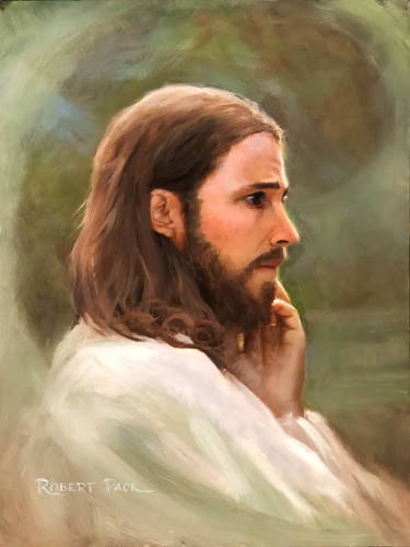 Painting of Jesus looking on with a conccerned, saddened expression.