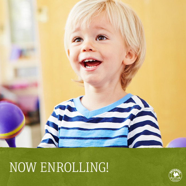 Now enrolling poster featuring a happy toddler playing the shakers