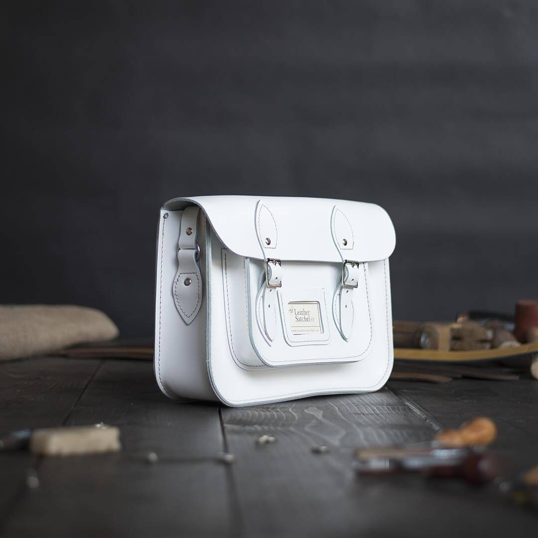 White 12.5 inch Leather Satchel