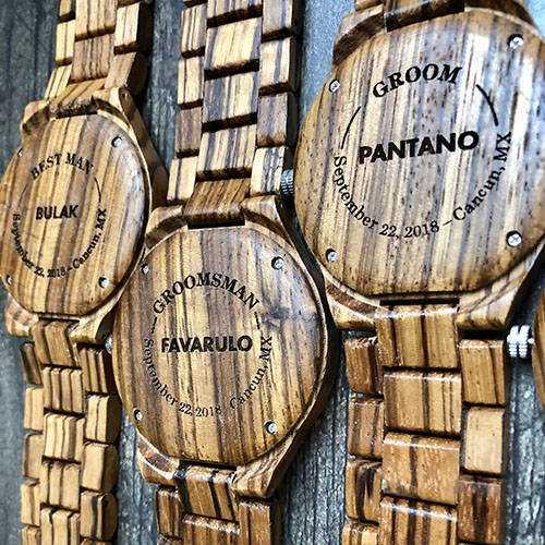 Engraved Zebra Wooden Watches for Wedding