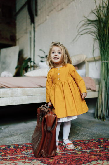"""Платье из хлопковой фланели со съемным подъюбником в цвете """"горчица"""""""