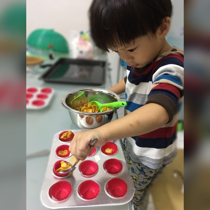 Nov 7th, 2019 - Little helper in action. End result~ soggy bottom. He scooped the mixtures together with the cornflakes..>,< it is ok. They enjoyed the process. Will try again soon.