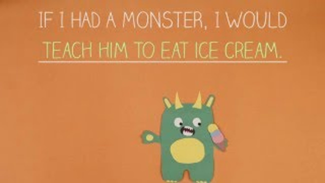 "Poster featuring an illustrated monster holding ice cream and a quote ""If I had a monster I would teach him to eat ice cream"""