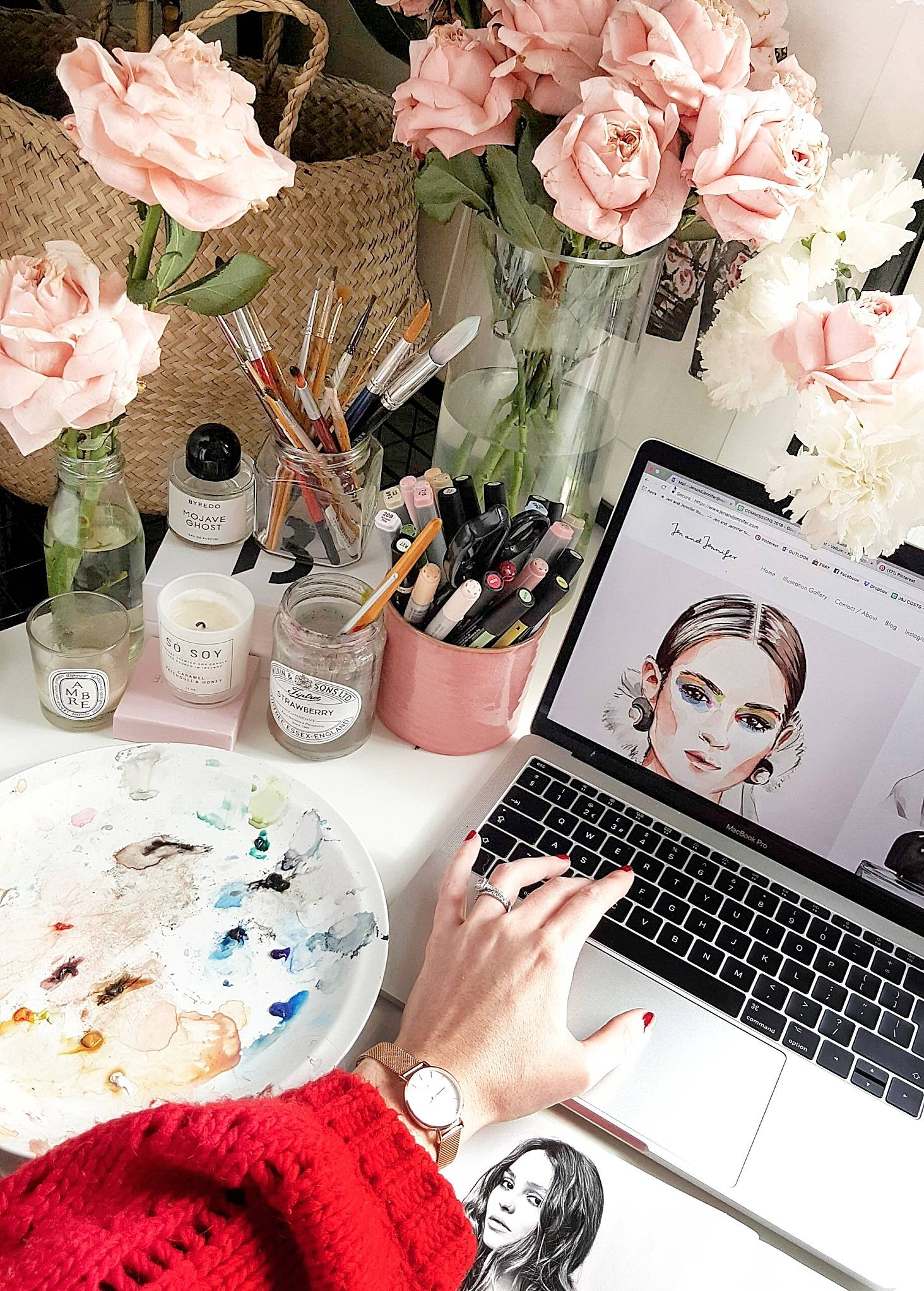 Behind the desk with jennifer darr of jen and jennifer london where she sits at the most beautiful desk and adventures around london and europe with her hubby find her beautiful flower pockets watercolour izmirmasajfo Gallery