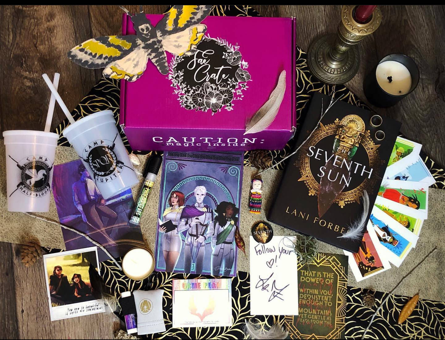 February 2020 Classified box theme includes Game Plan Notepad, Phoenix Tears Hand Sanitizer, Aurora Rising Chapstick and Travel Clip, This Savage Song 3D Mini Poster, Merciful Crow Caste Sorting Candle, Aurora Rising Muses Art, Vampire Academy Polaroid, Cauldron Blessed Shirt, E-Book Download of The Last King of Mountain by Camryn Daytona, and Seventh Sun by Lani Forbes.