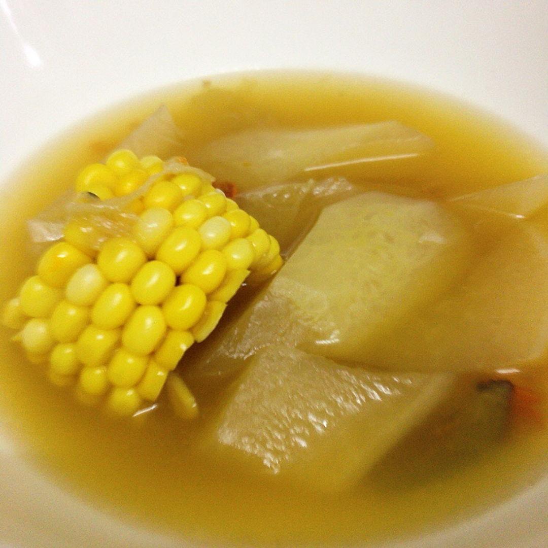 Radish soup. Hot soup for rainy day.