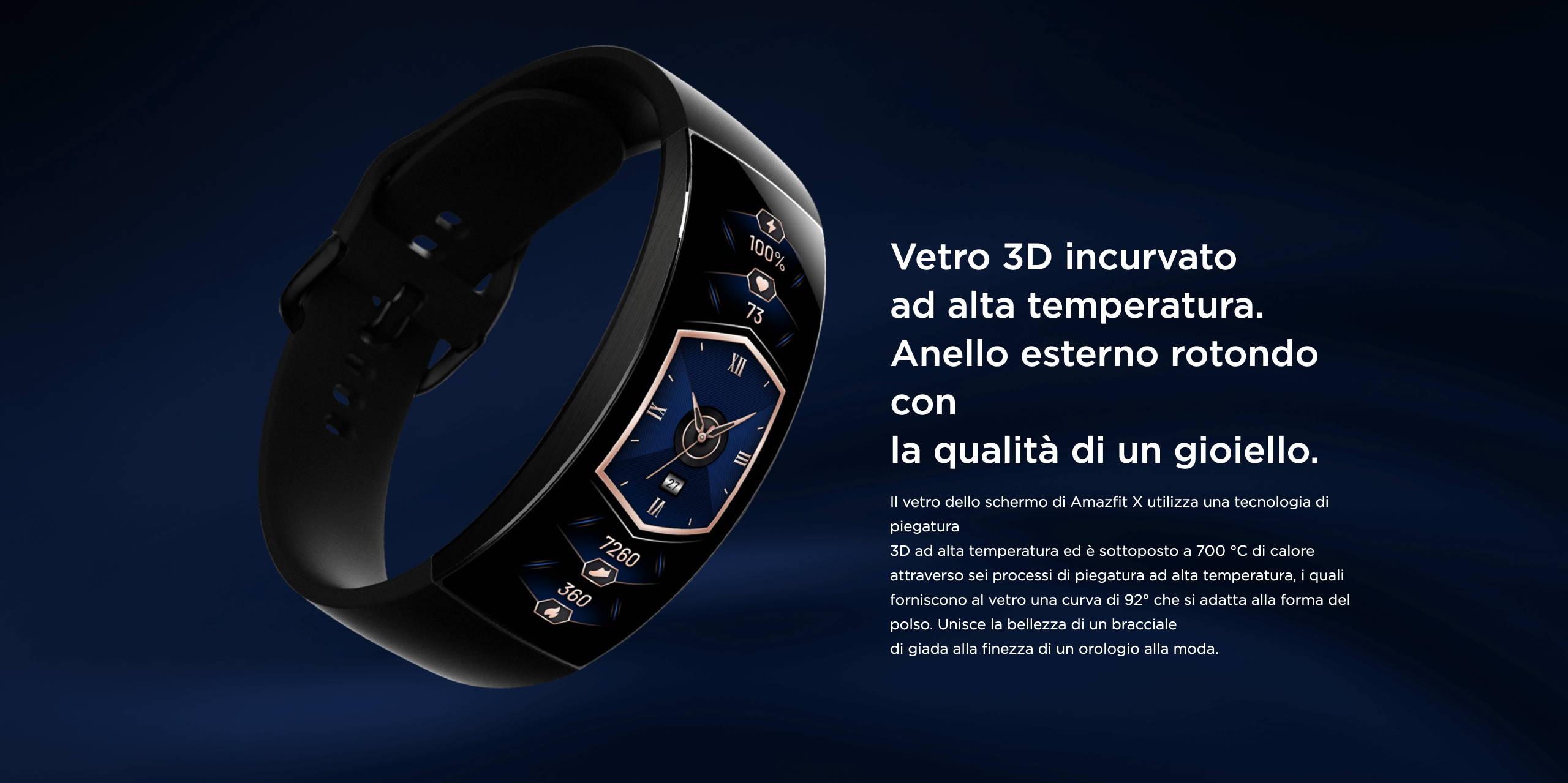 Amazfit X - Vetro 3D incurvato ad alta temperatura.Anello esterno rotondo con la qualità di un gioiello.