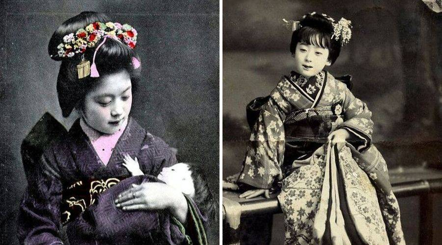Young girls training to be geisha