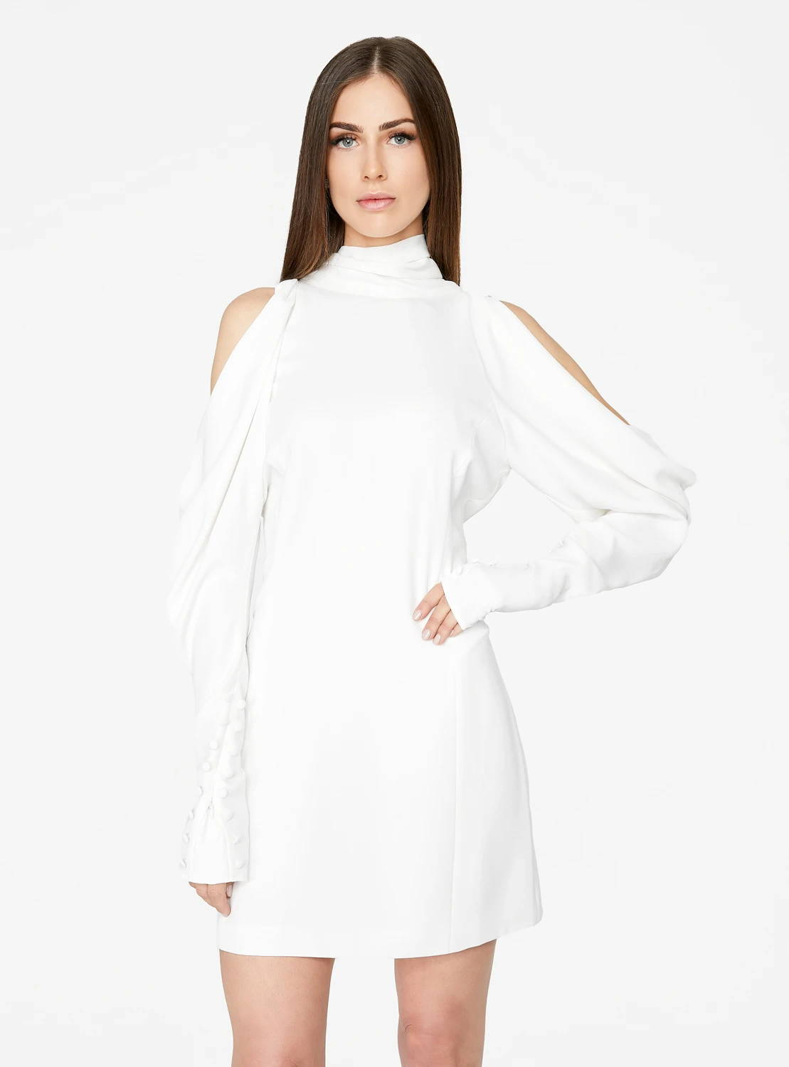 Off White Draped Sleeve Mini Dress