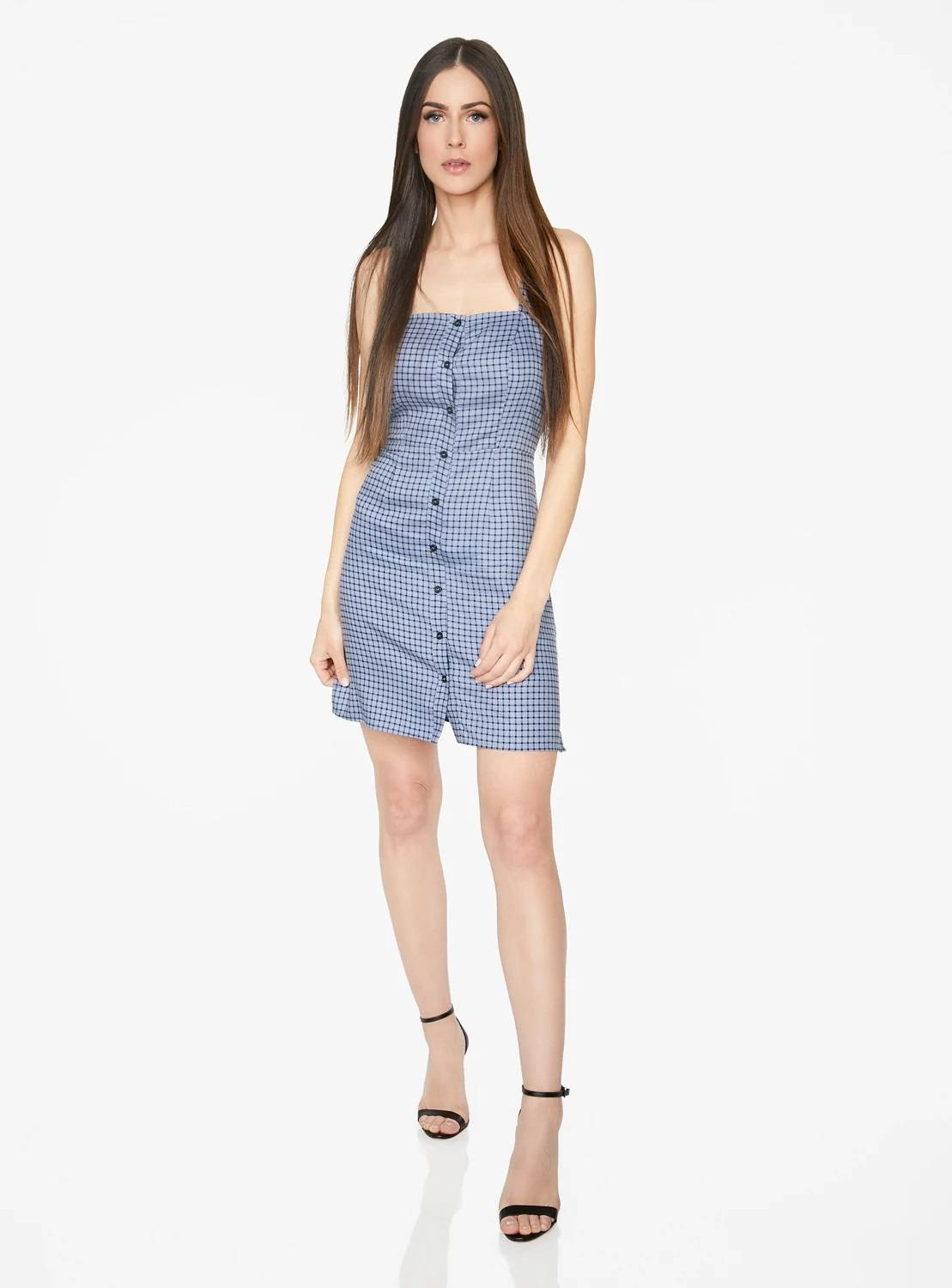 Mini Button Up Dress in Blue Checkered