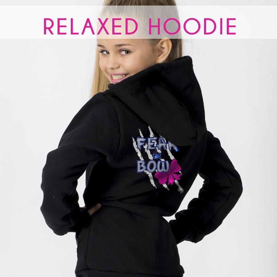 glitterstarz relaxed black hoodie with custom team rhinestone logo