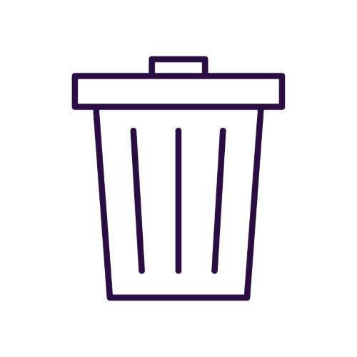 purple trash can icon