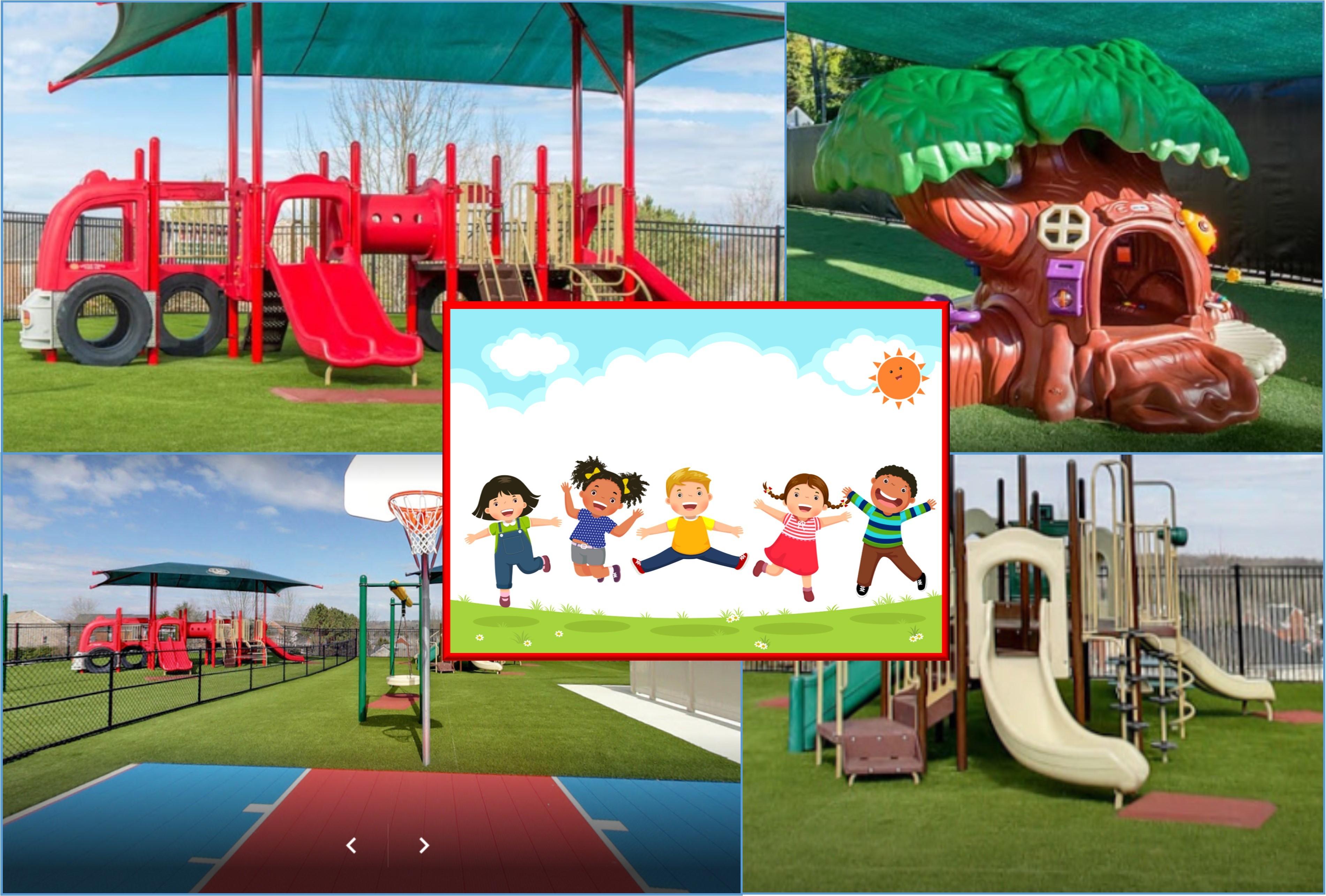 Playground equipment fun outside children playing preschool