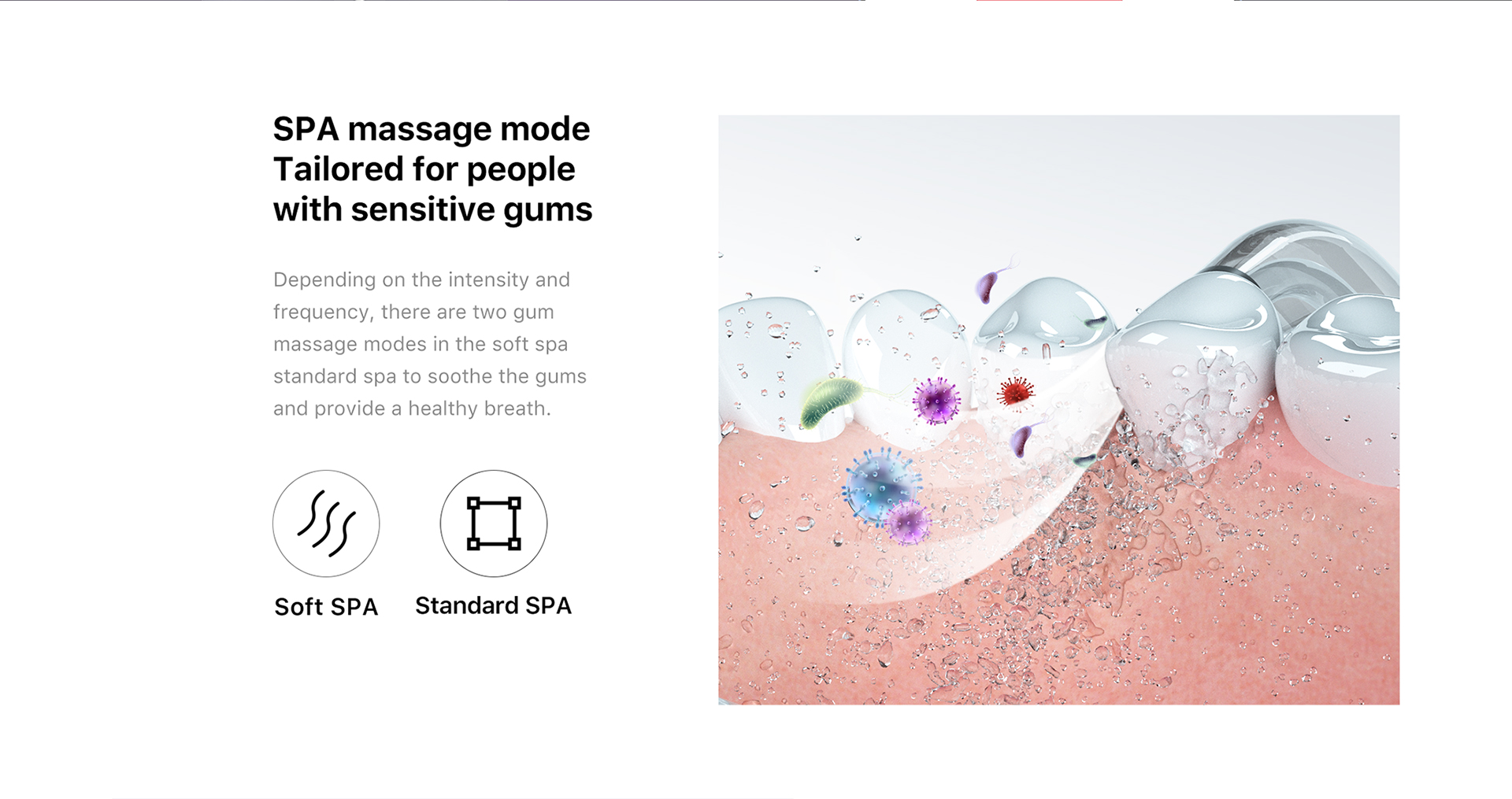 SPA massage mode tailored for people with sensitive gums