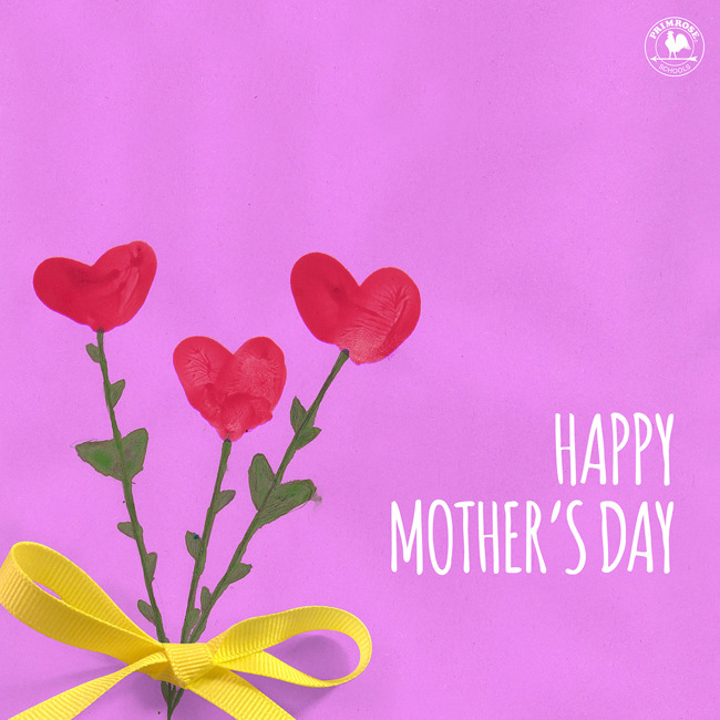 Happy mother's day poster with hand painted flowers on it