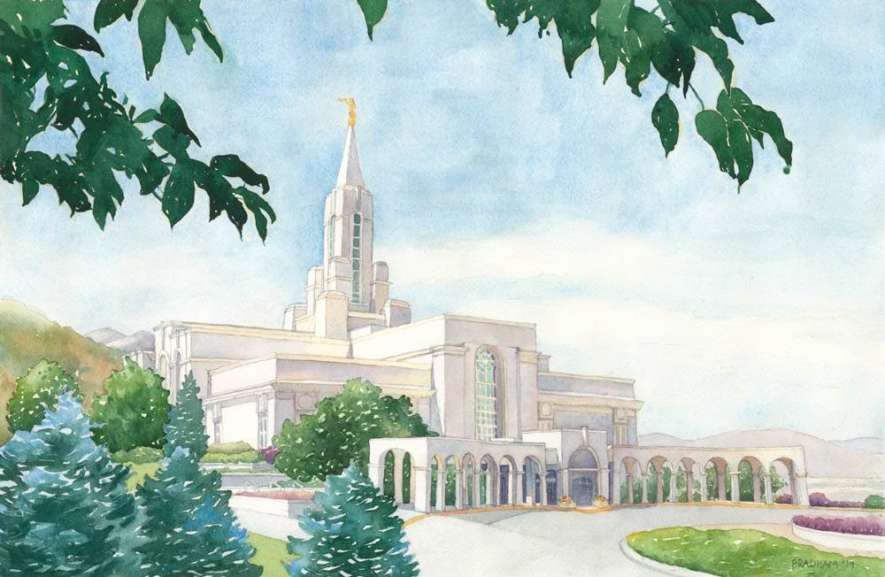 Bountiful temple painting at same angle as Mount Timpanogos photo.