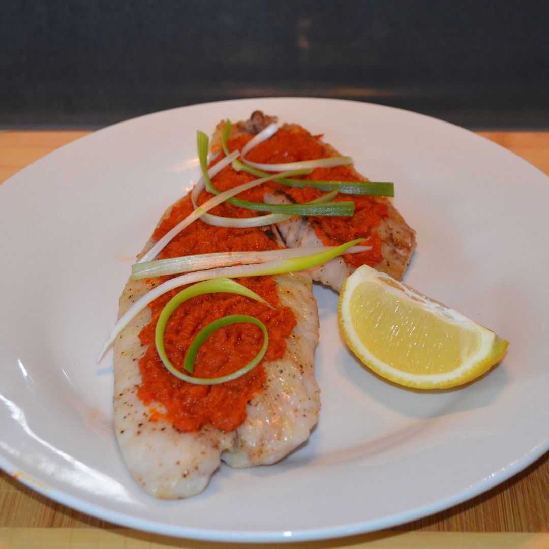 Date: 5 Mar 2020 (Thu) 42nd Side: Grilled Saddletail Snapper with Chilli Paste [259] [155.0%] [Score: 7.8] Cuisine: Malaysian, Singaporean, Thai Dish Type: Side A South-east Asian dish with an Australian fish!