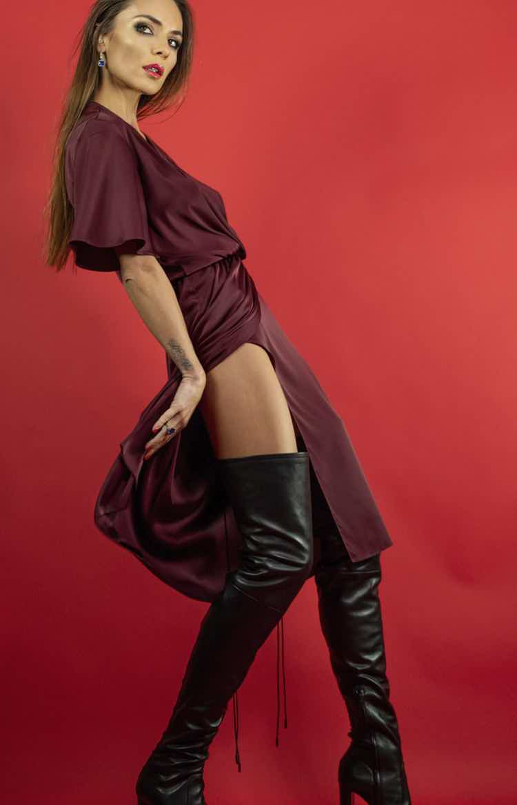 I'll take burgundy dress