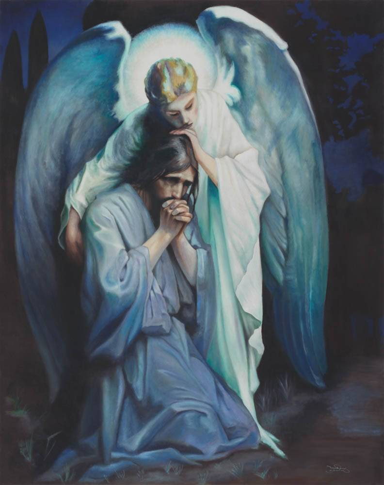 Painting of an angel comforting Jesus as He suffers in the Garden of Gethsemane.