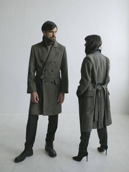 Песочно-черное твидовое двубортное пальто - #75
