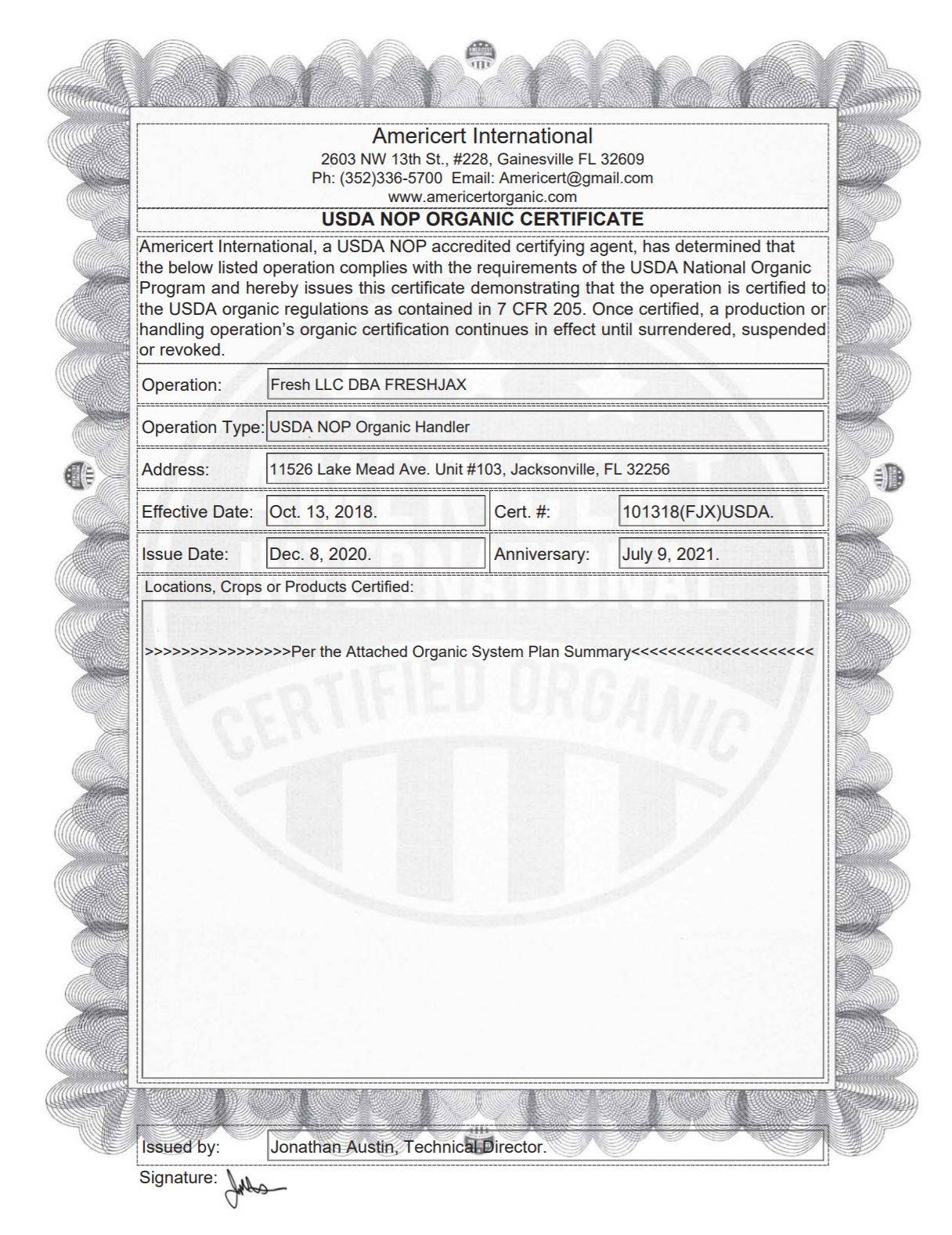 USDA NOP Organic Certificate