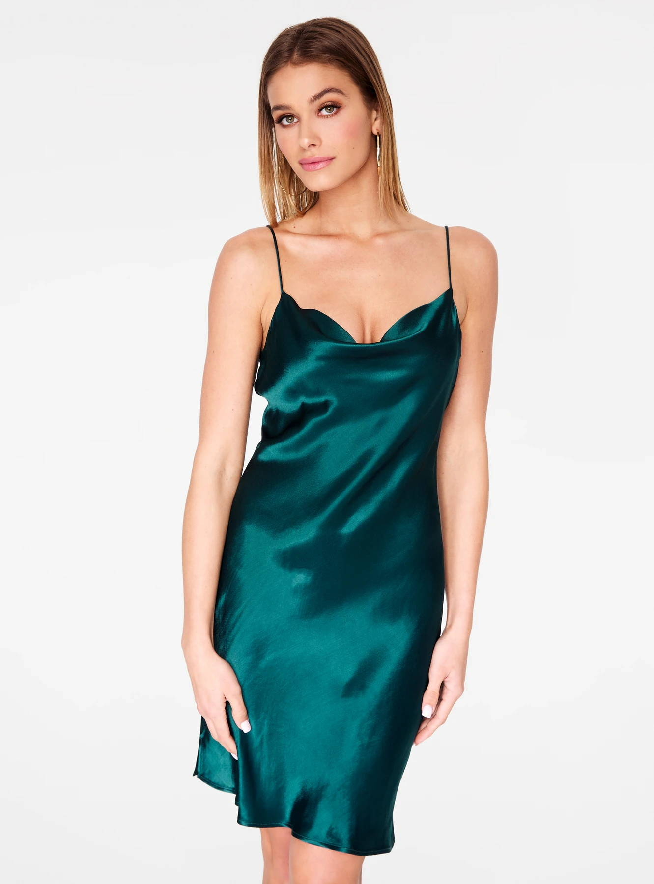 Emerald Cowl Neck Satin Slip Dress