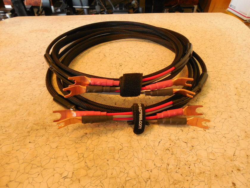 Silver 10 AWG Speaker Cables  Black Shadow 3 Meter /SPADES