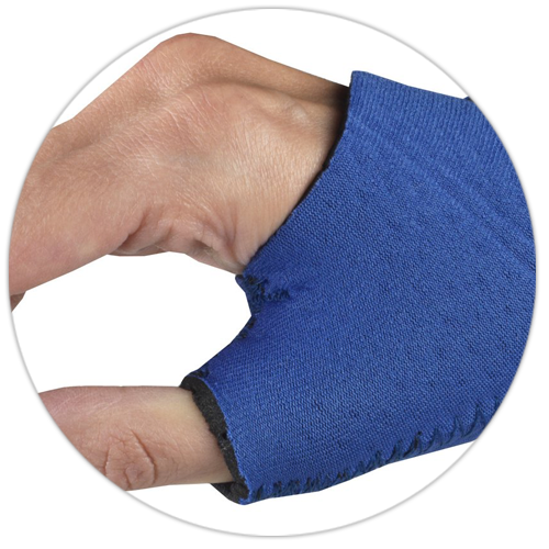 CLOSE UP ON HAND WEARING WRIST-THUMB SUPPORT