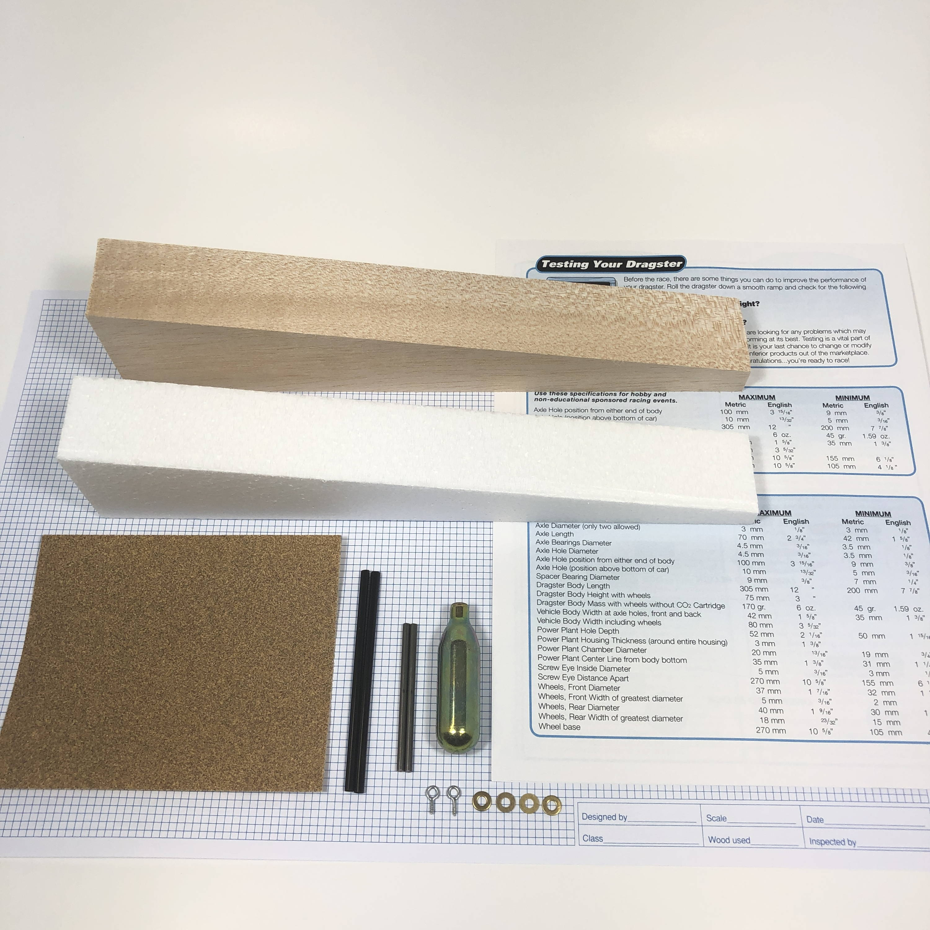 co2-dragster-Basswood-kit-school-project