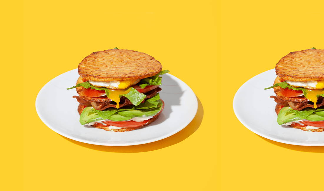 sandwiches made with outer aisle sandwich thins on yellow background