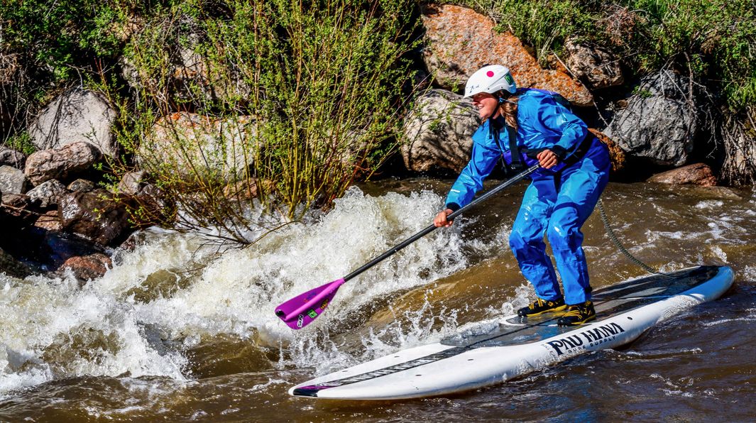 River racing on the Pau Hana big ez board and sup paddle