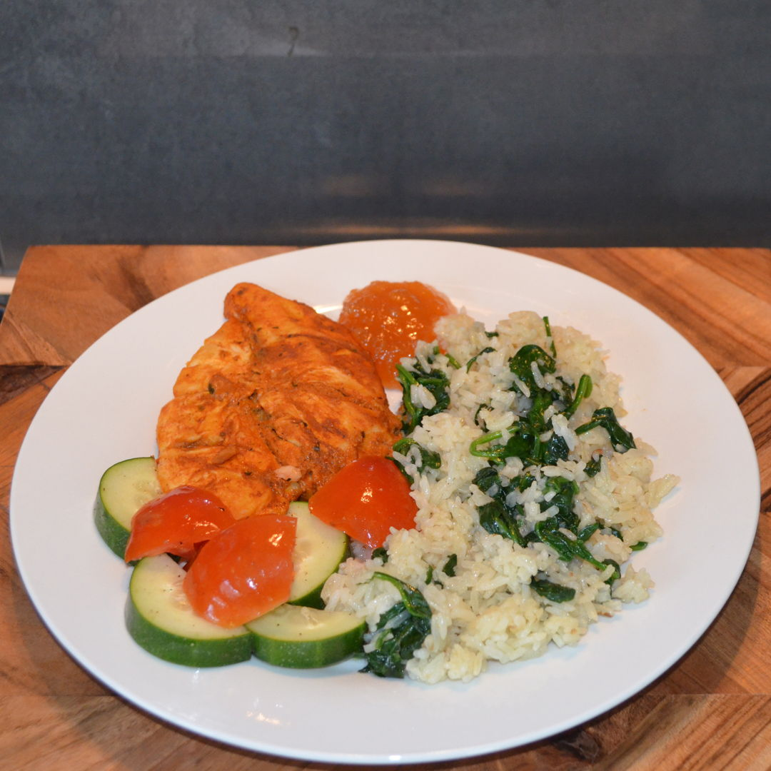 Date: 19 Mar 2020 (Thu) 87th Main: Tandoori Chicken Breasts with Spinach & Garlic Rice [278] [157.3%] [Score: 10.0] Cuisine: Indian Dish Type: Main Roasted in the oven chicken breasts are easy and delicious ways to enjoy tandoori flavours. Served with fragrant garlic spinach rice plus a crunchy salad and mango chutney, this mild meal is a family winner!