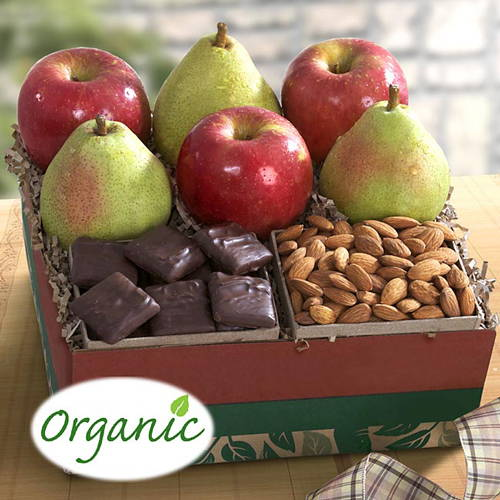Organic Chocolate, Munch and fruit Gift Box