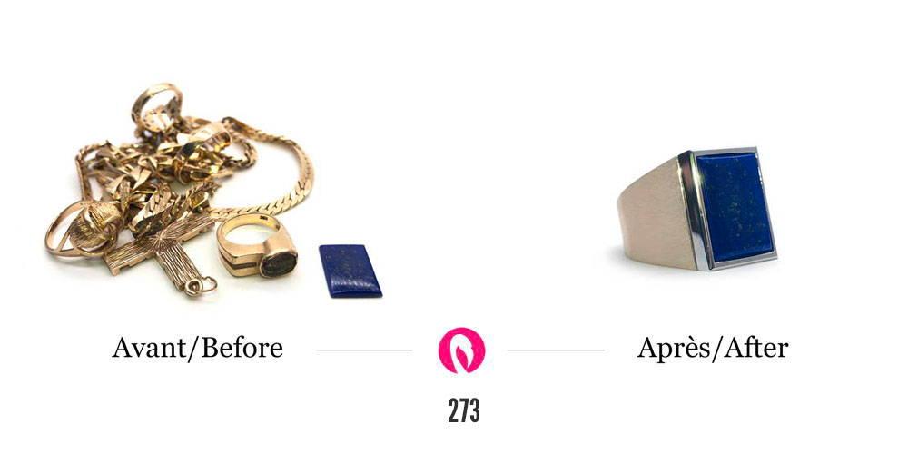 Transformation d'un amas de bijoux en or avec en solo une pierre lapis lazuli en une bague chevalière avec lapis lazuli