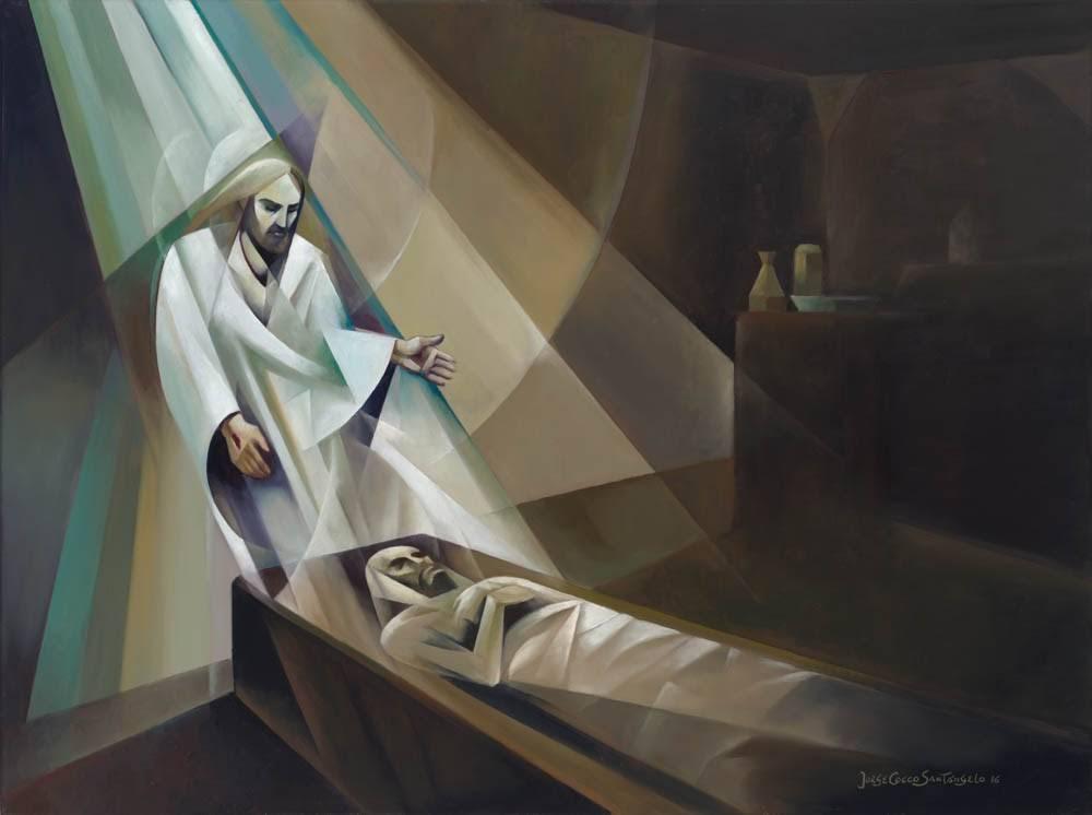 Modern painting of Jesus' resurrection.