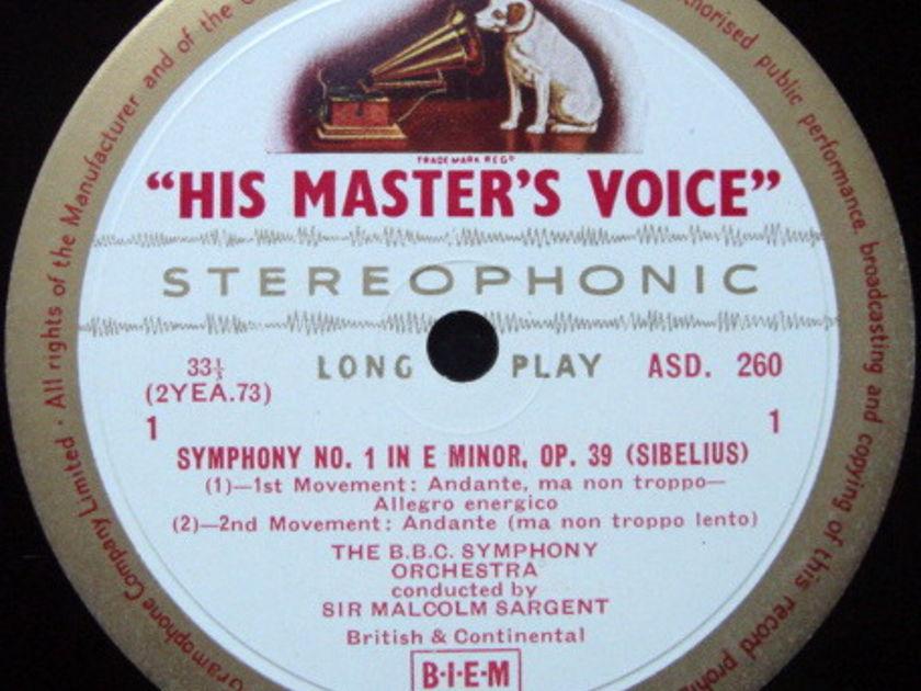 ★1st Press★ EMI ASD WHITE & GOLD / SARGENT, - Sibelius Symphony No 1, VG+!