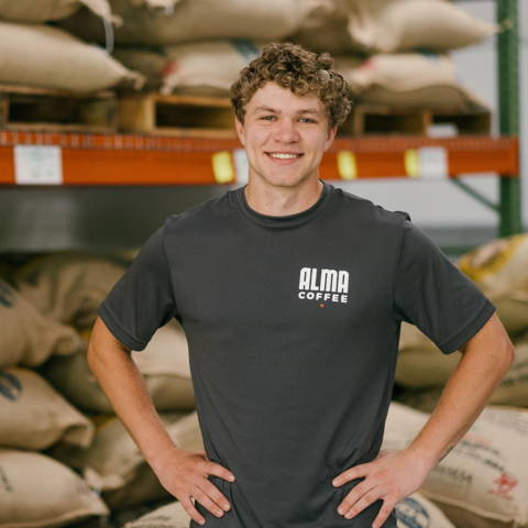 Matt Somsen, in charge of roastery operations at alma coffee