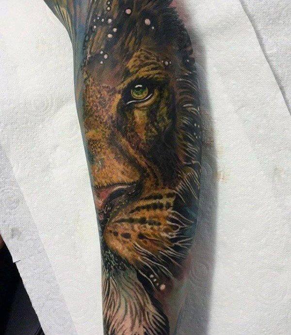 Tatouage Lion Couleur Avant Bras