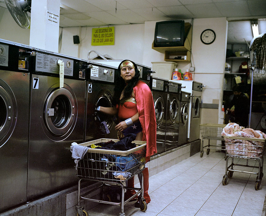 Dulce Pinzón, Maria Luisa Romero from Puebla works in in a laundromat in Brooklyn, New York. She sends $150 a week