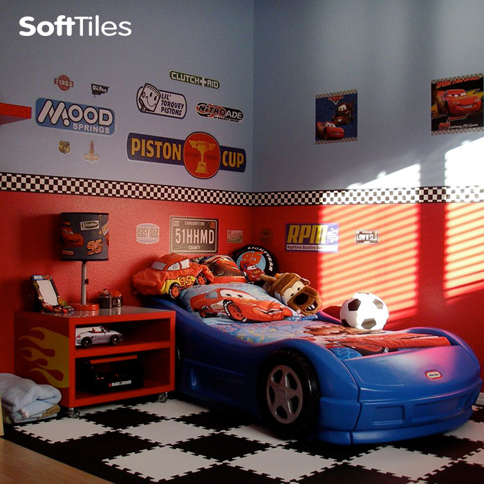 Here S A Fun Children Race Car Room For The Young Racing Fan Use Black And White Softtiles 1x1 Puzzle Foam Floor Mats To Create