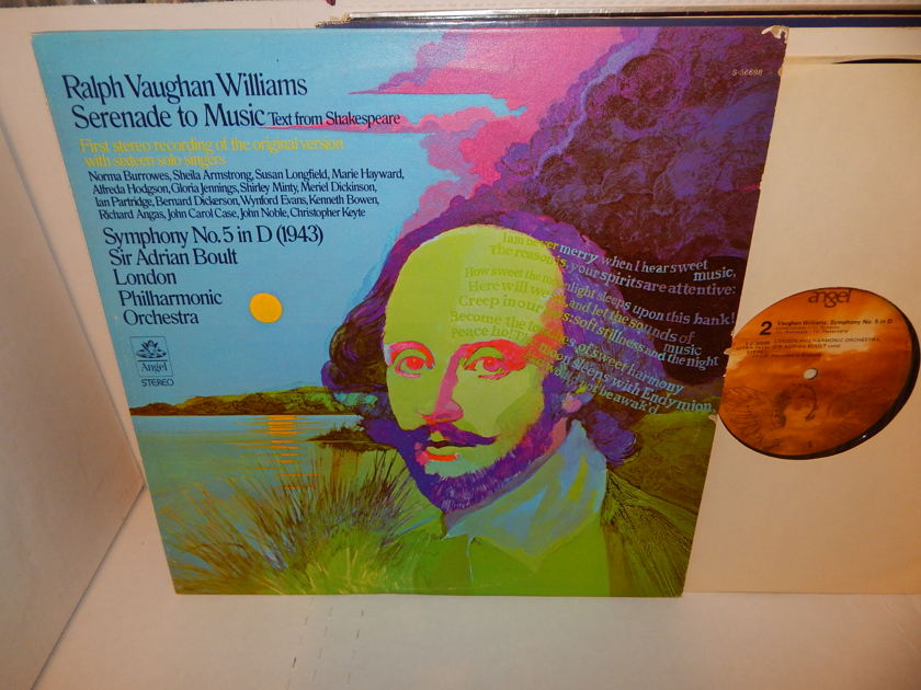 RALPH VAUGHAN WILLIAMS Serenade To Music - Sir Adrian Boult London Philharmonica Sym No. 5 Angel Records EXC LP
