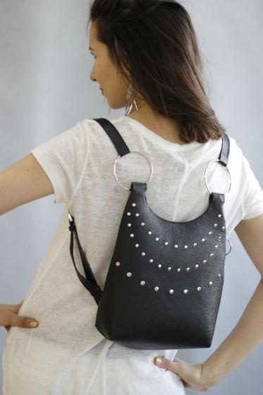 Кожаный женский рюкзак Salute из натуральной кожи с клепками