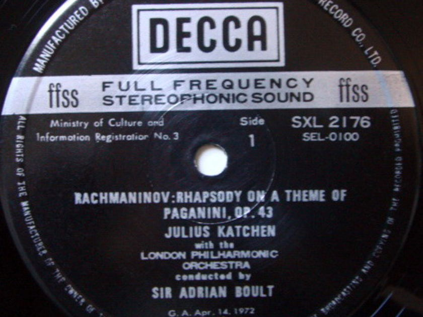 DECCA SXL-NB / KATCHEN-BOULT, - Rachmaninov Rhapsody on a Theme of Paganini, NM!