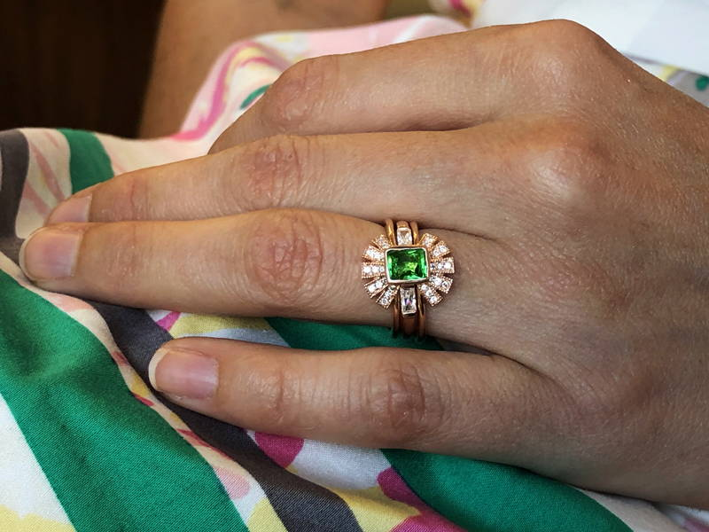 two-piece radius ring with tsavorite garnet