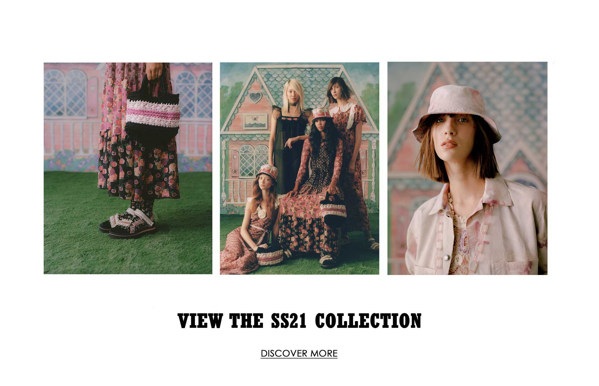 Discover the Spring Summer 2021 Collection. Jordan Daniels, Soo Joo Park, Sara Grace Wallerstadt and Sasha Kynsh  wear the newest Anna Sui Collection