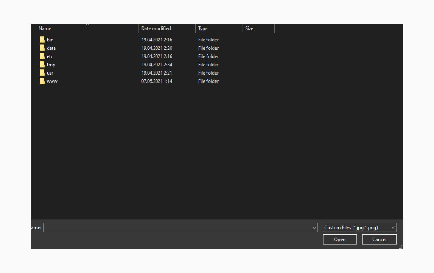 Windows file upload window