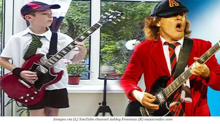 Move over Angus Young, this new buck is going to take your signature Gibson SG guitar.